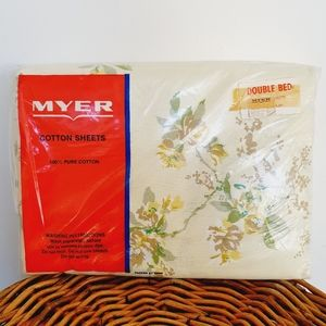 Vintage Sheets DB Floral Yellow New 100% Cotton